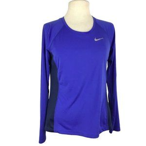 Nike Running Dri Fit Fitted Longs Sleeve Top Blue